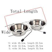 S M L Double Dog Bowls Diner Dish Durable Stainless Steel Dog Bowl Anti Slip Removable Puppy Cat Food Water Pet Feeders