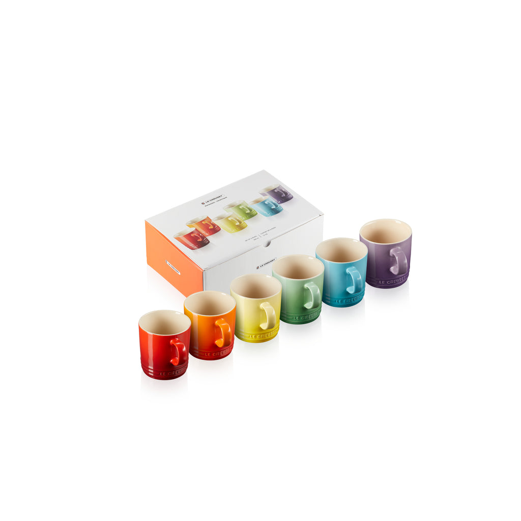 SET 6 TAZAS ARCOIRIS 350 ML (PAL,FLA, SOL, UV, CAR,CER)