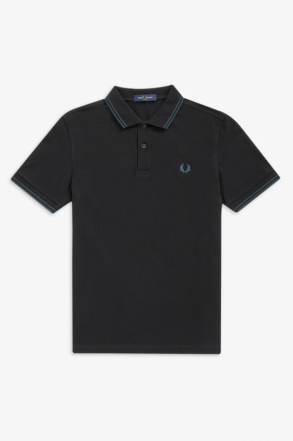 TWIN TIPPED FRED PERRY SHIRT        BLACK / PETROL