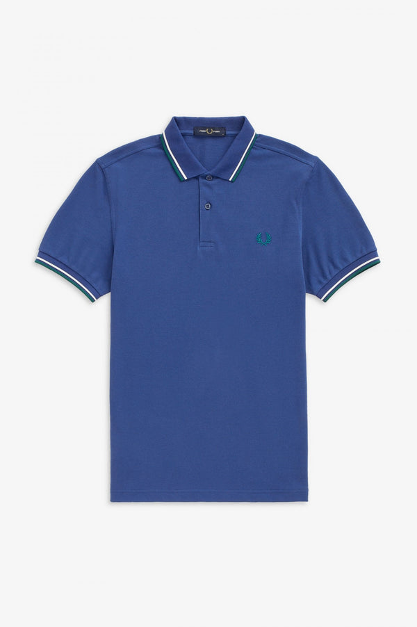 TWIN TIPPED FRED PERRY SHIRT        NAUTICAL BLUE
