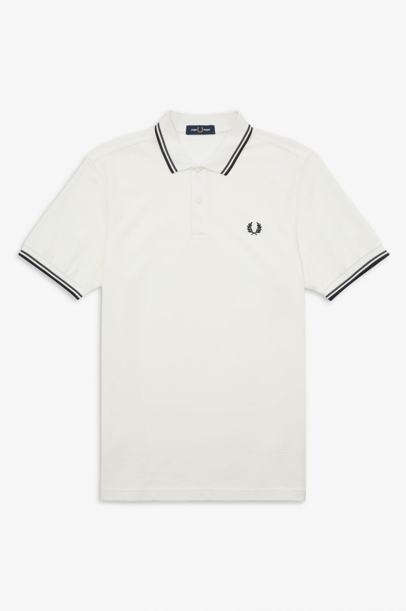 TWIN TIPPED FRED PERRY SHIRT        SNOWWHT/GRPH/BLK