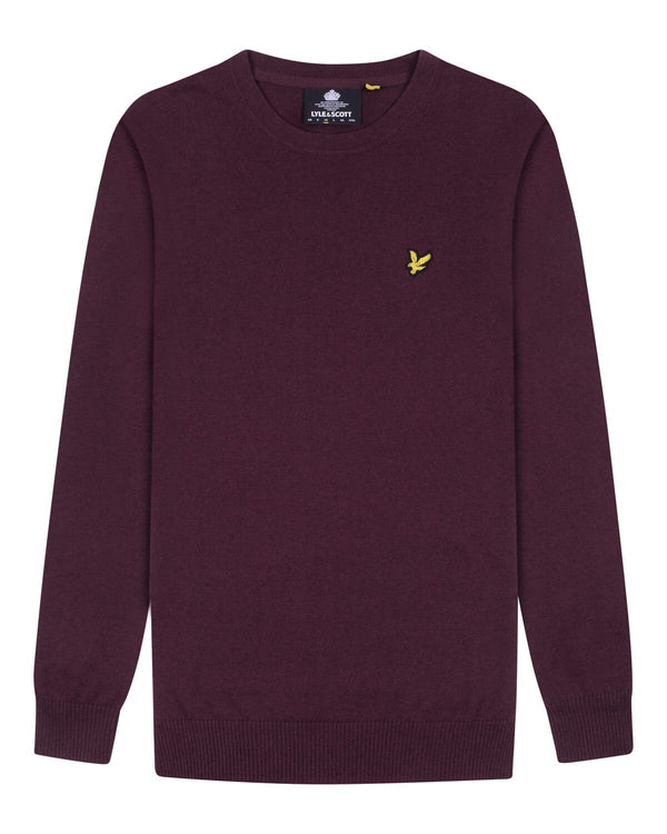 Cotton Merino Crew Jumper           Burgundy