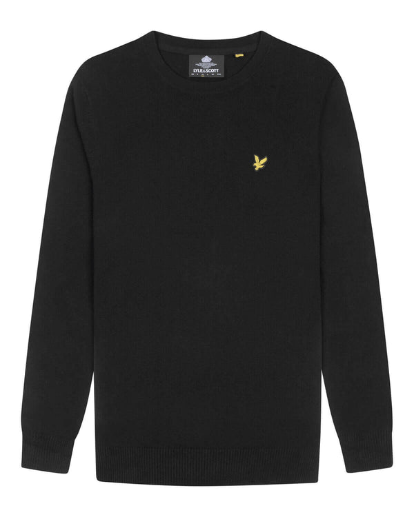 Cotton Merino Crew Jumper           Jet Black