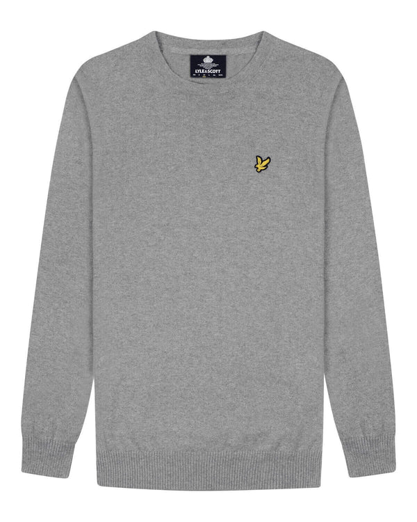 Cotton Merino Crew Jumper           Mid Grey