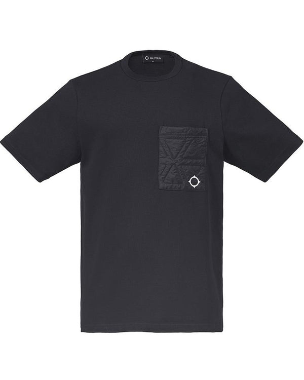 POLYGON QUILT POCKET TEE            JET BLACK