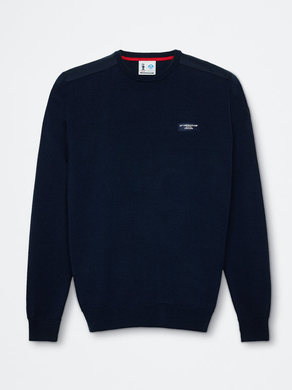 HOWICK ROUND NECK 12 GG             NAVY BLUE