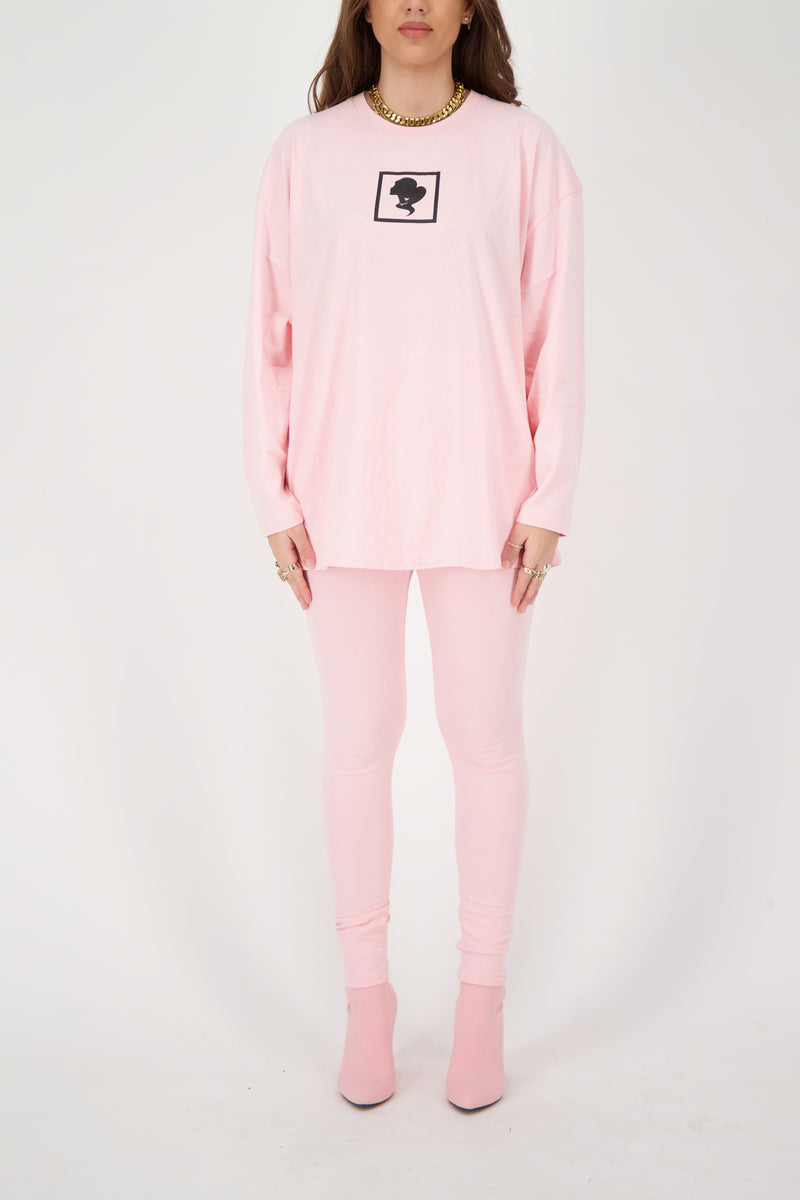 HEADLOGO SQUARE T-SHIRT LONG SLEEVE Baby Pink