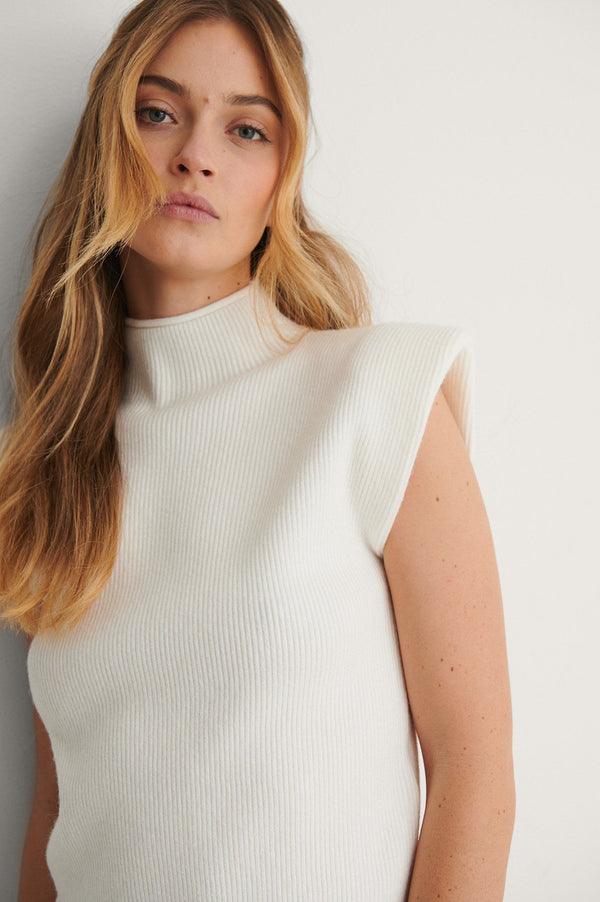 Padded shoulder ribbed knitted top  White