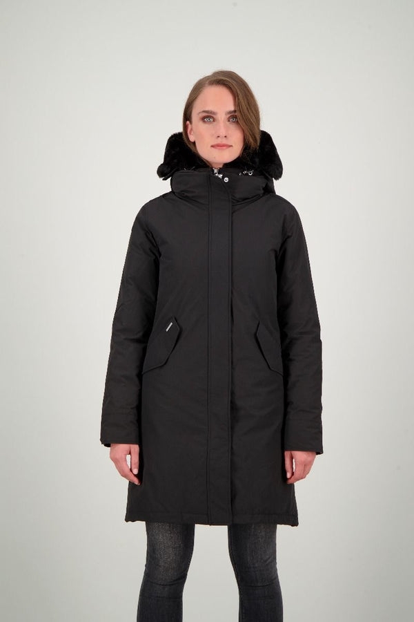DOUBLE ZIP FISHTAIL PARKA           True Black