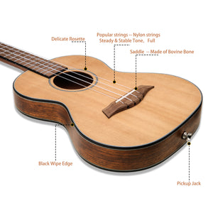 HRICANE Tenor Walnut Ukulele Ultra-thin Light for Travel