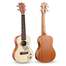 Load image into Gallery viewer, HRICANE Concert Ukulele 23 Inch Flower Spruce Top Sapele Ukulele