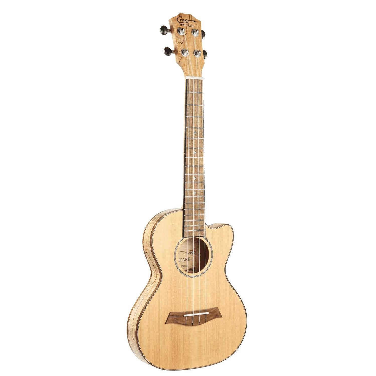 HRICANE solid spalted maple wood tenor size ultra slim ukulele for travel