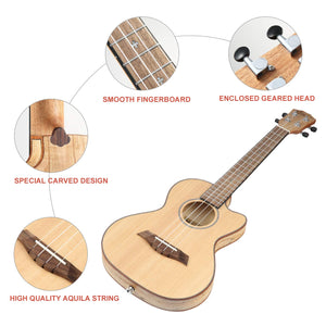 Hricane deadwood tenor size ultra slim ukulele for travel