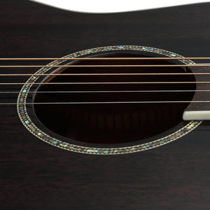 39 Inch Solid Mahogany Top Black Acoustic Guitar