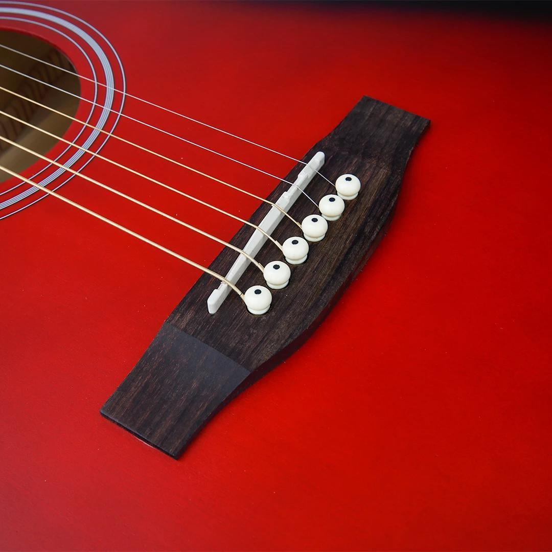 41 Inch Mahogany Spruce Top Red Cutaway Acoustic Guitar