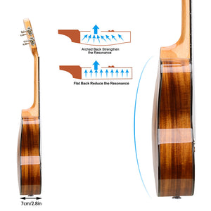 HRICANE Concert Solid Top Acacia Professional Ukulele Glossy Finished