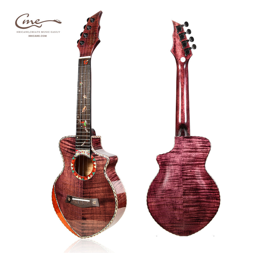 HRICANE concert size flame maple wood ukulele grape purple glossy finished