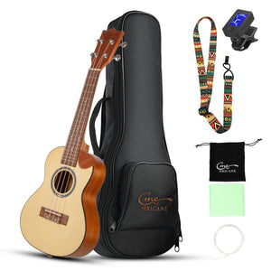 HRICANE Concert Ukulele Spruce Top Sapele back and side Cutaway Hawaii Ukulele