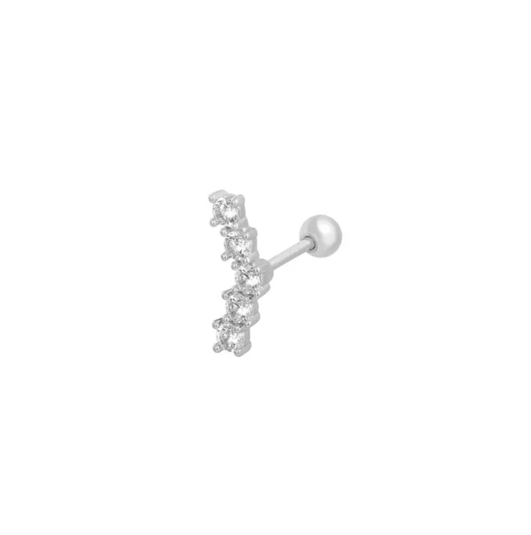 Curved rhinestone bar - cartilage collection