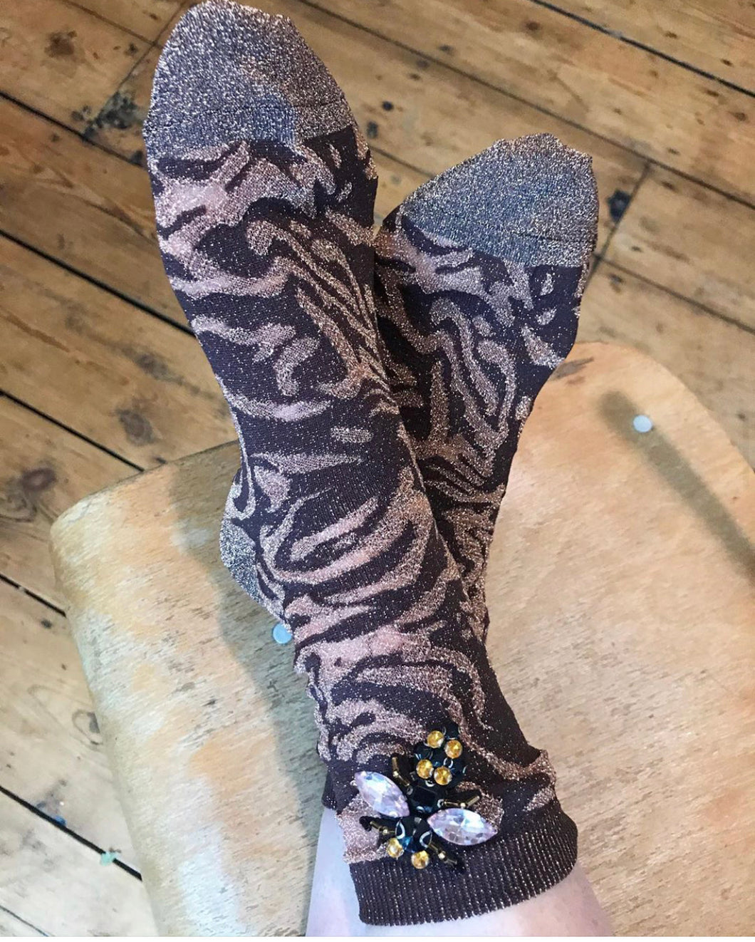 Lurex zebra socks with or without brooch