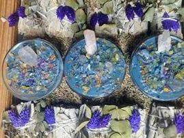 Intention Infused Crystals & Herb Votive Candles