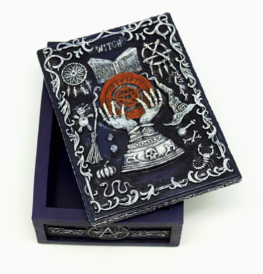 "Tarot Box: ""Witch"" Pagan Themed Hand Painted Tarot Storage Box"