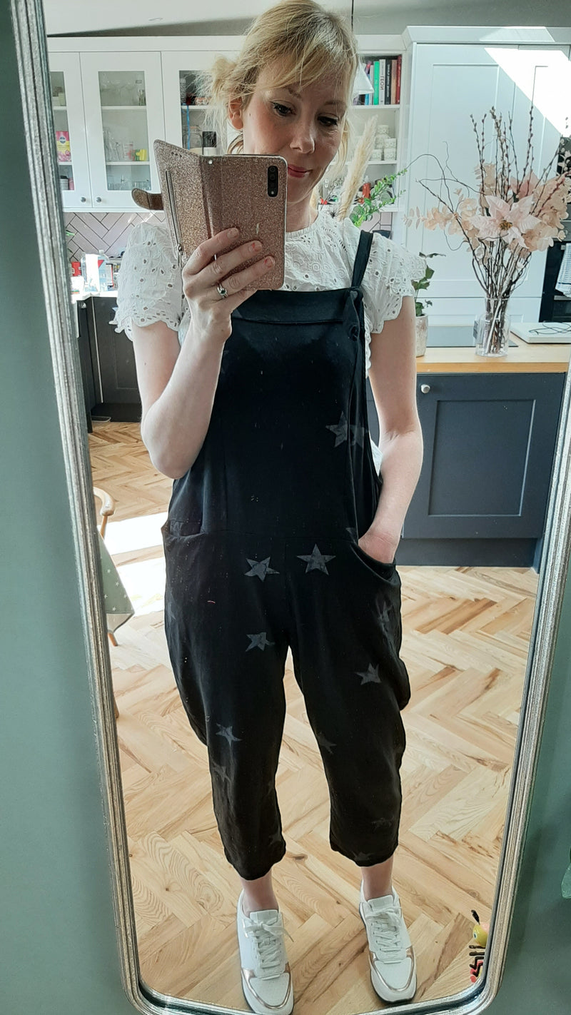 Black Star Tie Slouch Dungarees