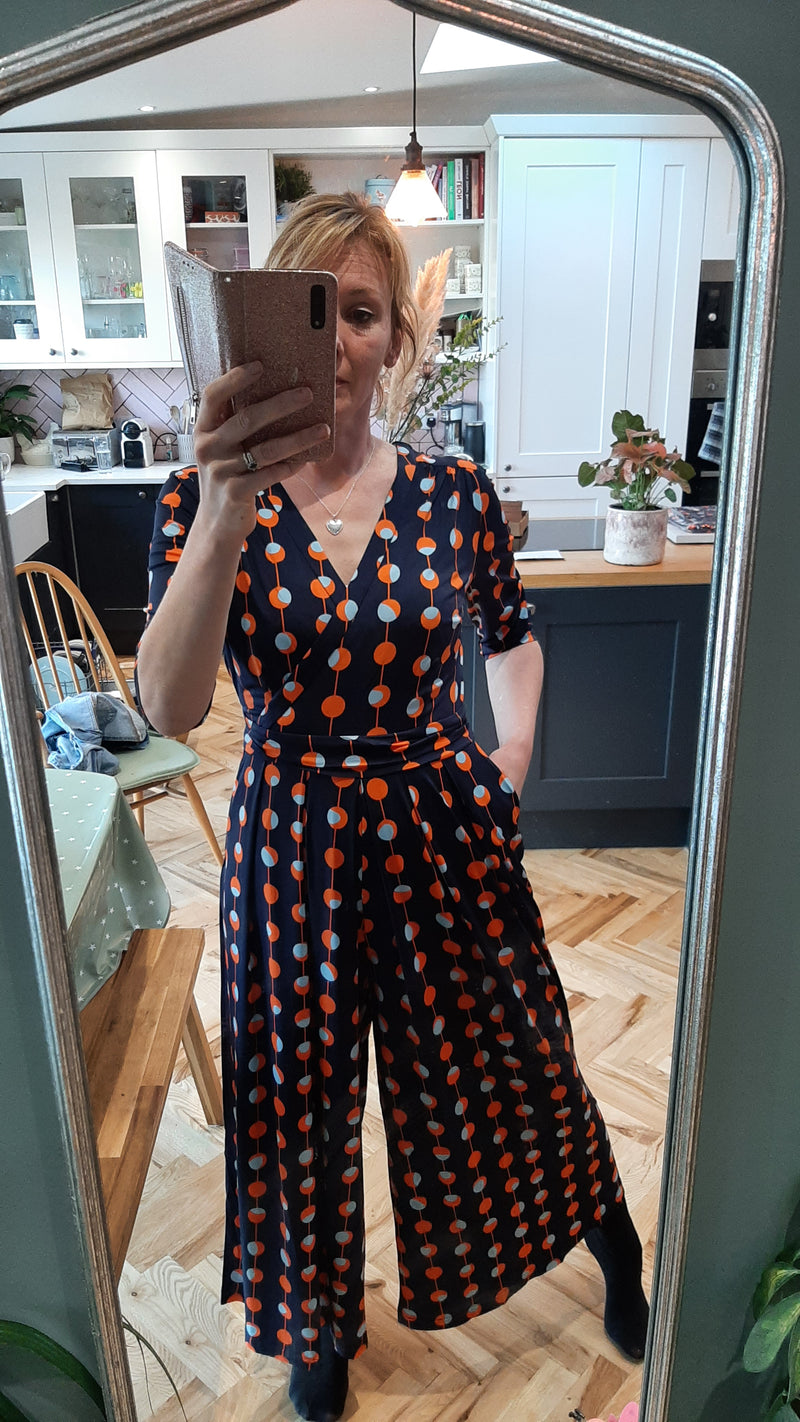 Orange Spot Jumpsuit in Navy
