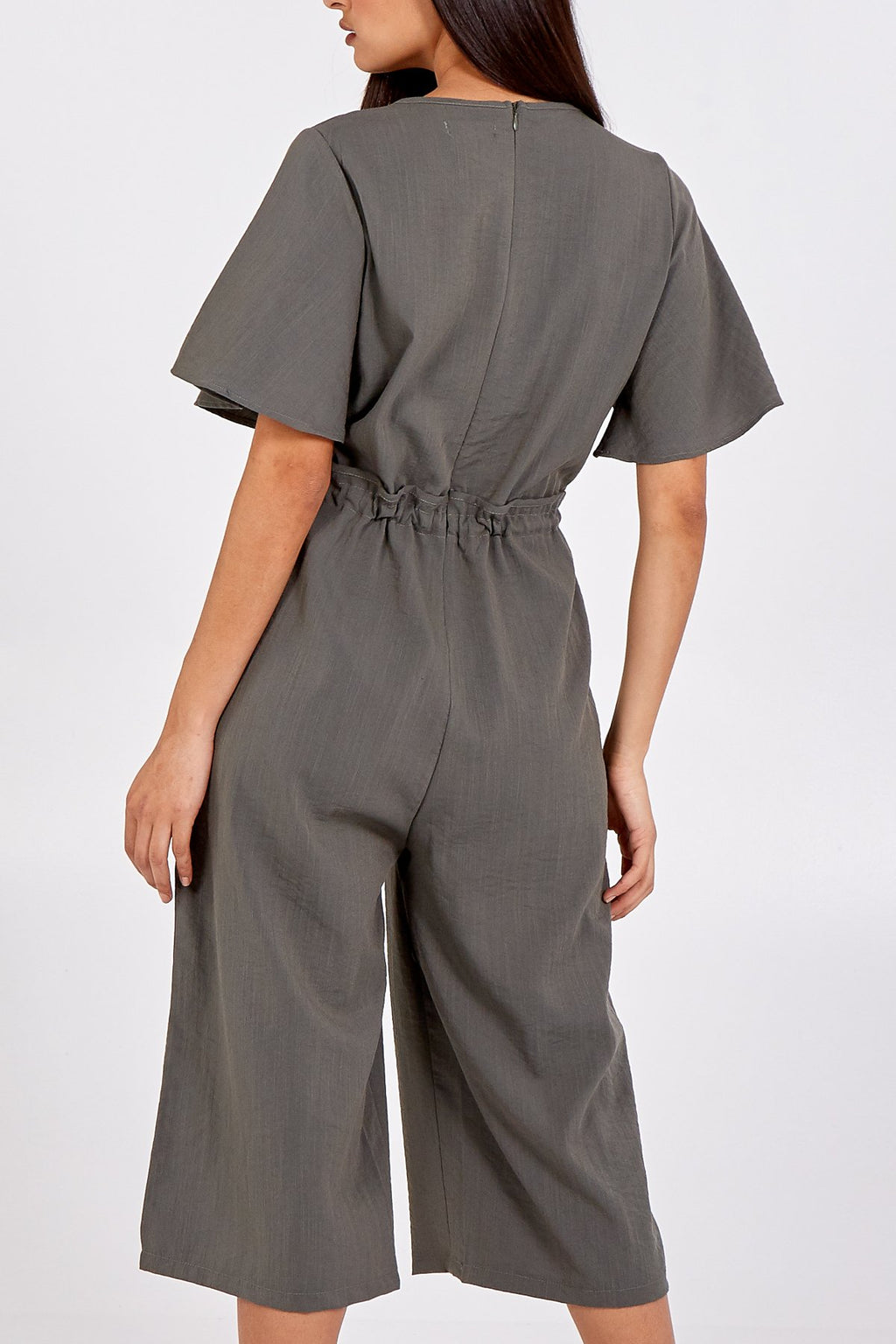 Angel Sleeve Jumpsuit in Khaki