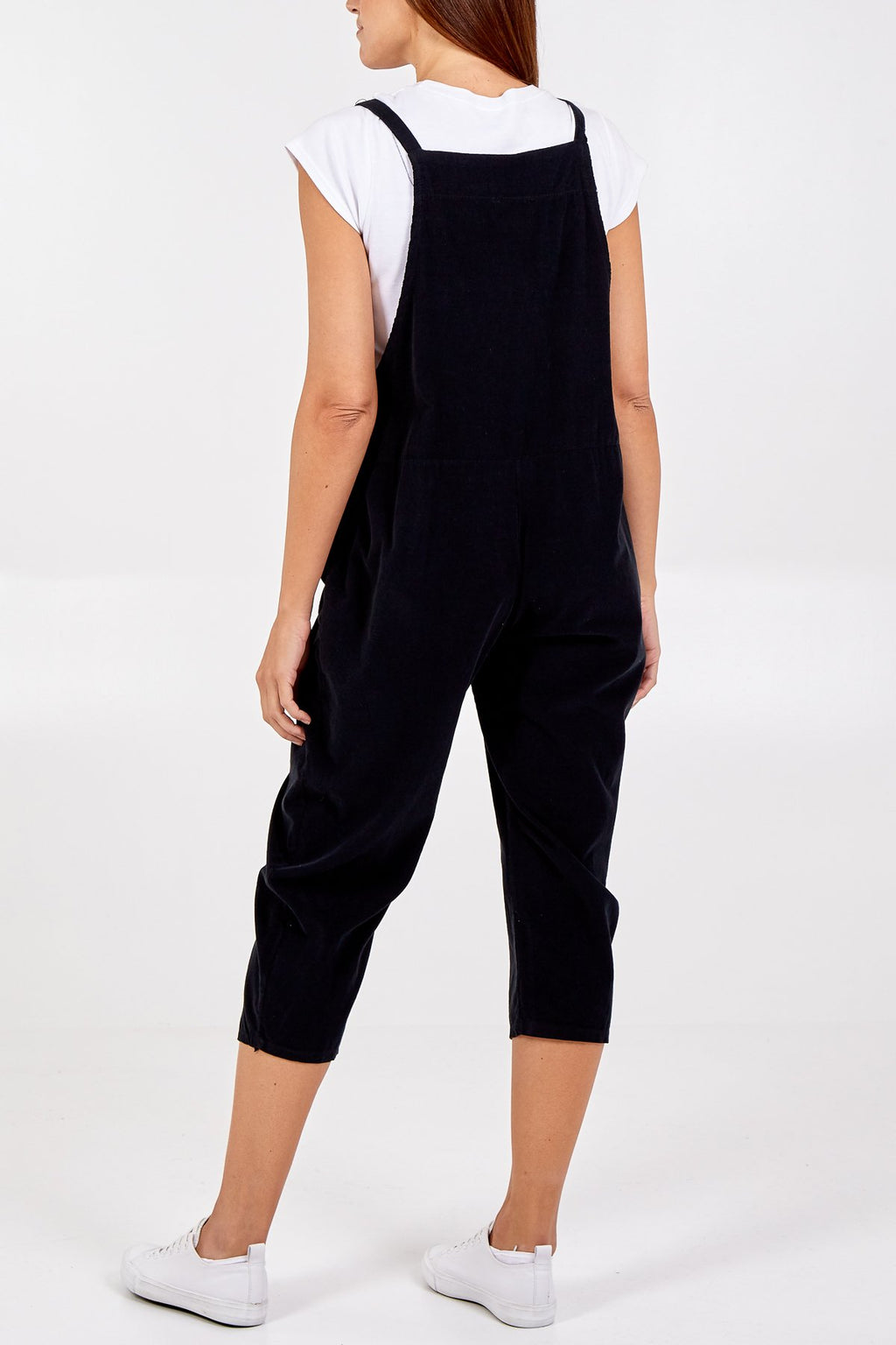 Needlecord Slouch Dungarees - Black