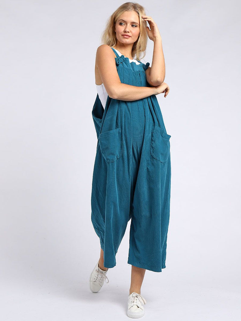 Needlecord Wide Leg Dungarees - Teal