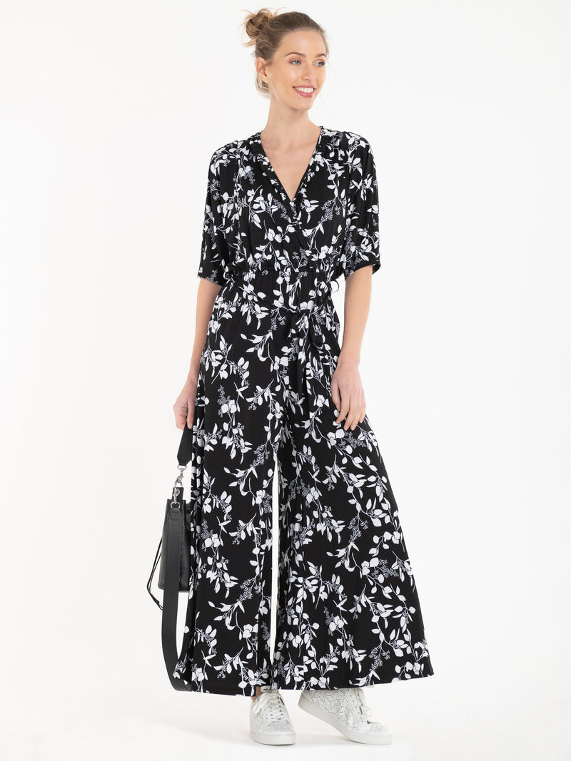 Bianca Wrap Jumpsuit in Monochrome Floral