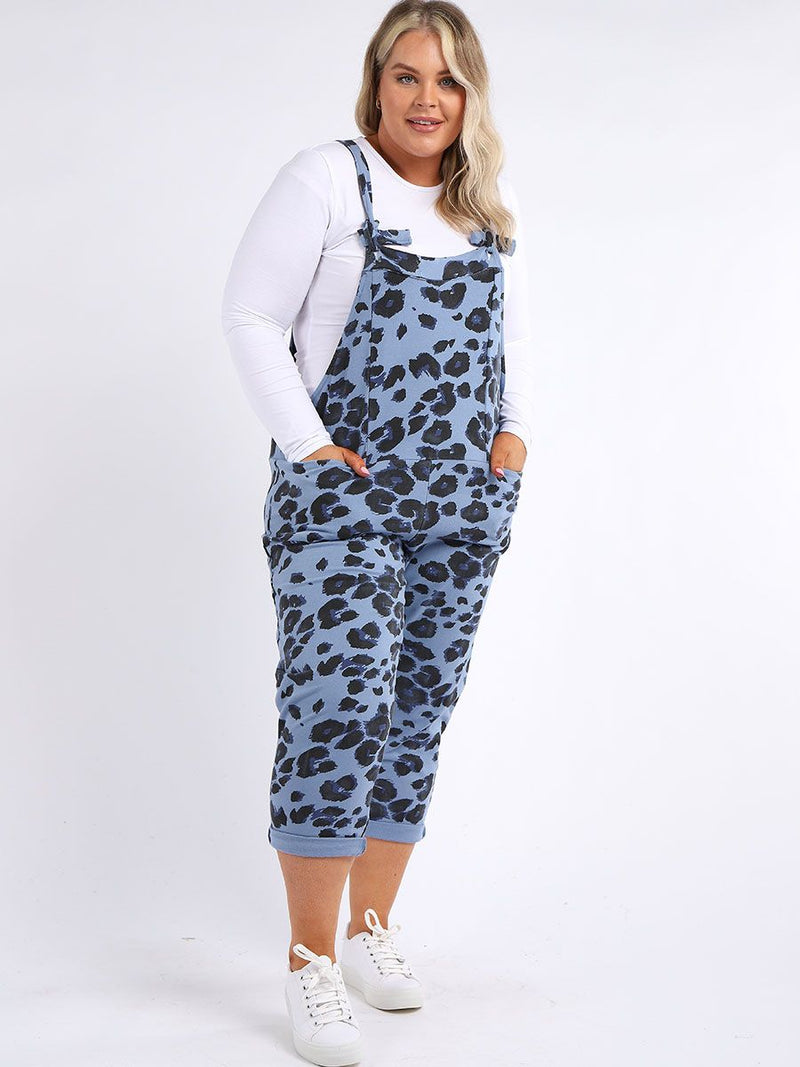 Denim Blue Leopard Square Back Dungarees