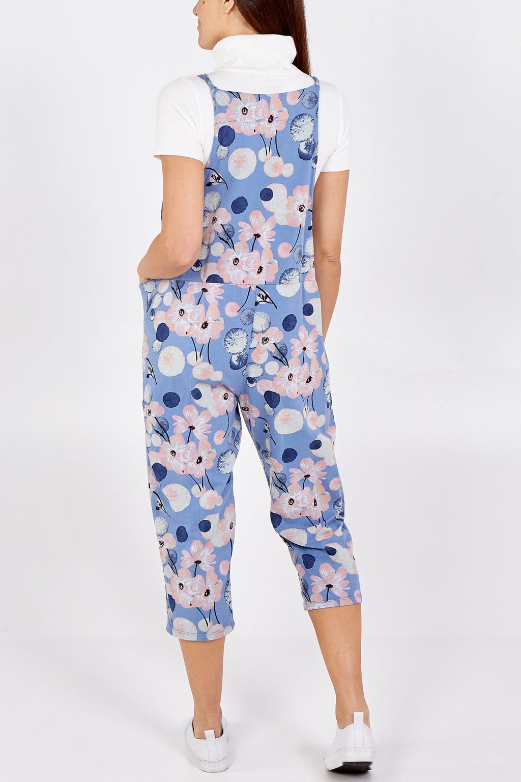 Blue Flower Tie Slouch Dungarees