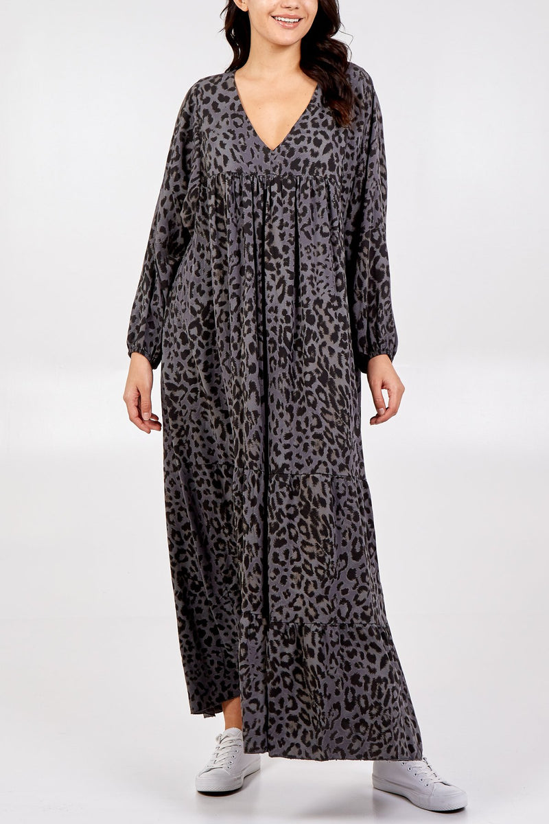 Batwing Leopard Print Maxi Dress - Dark Grey