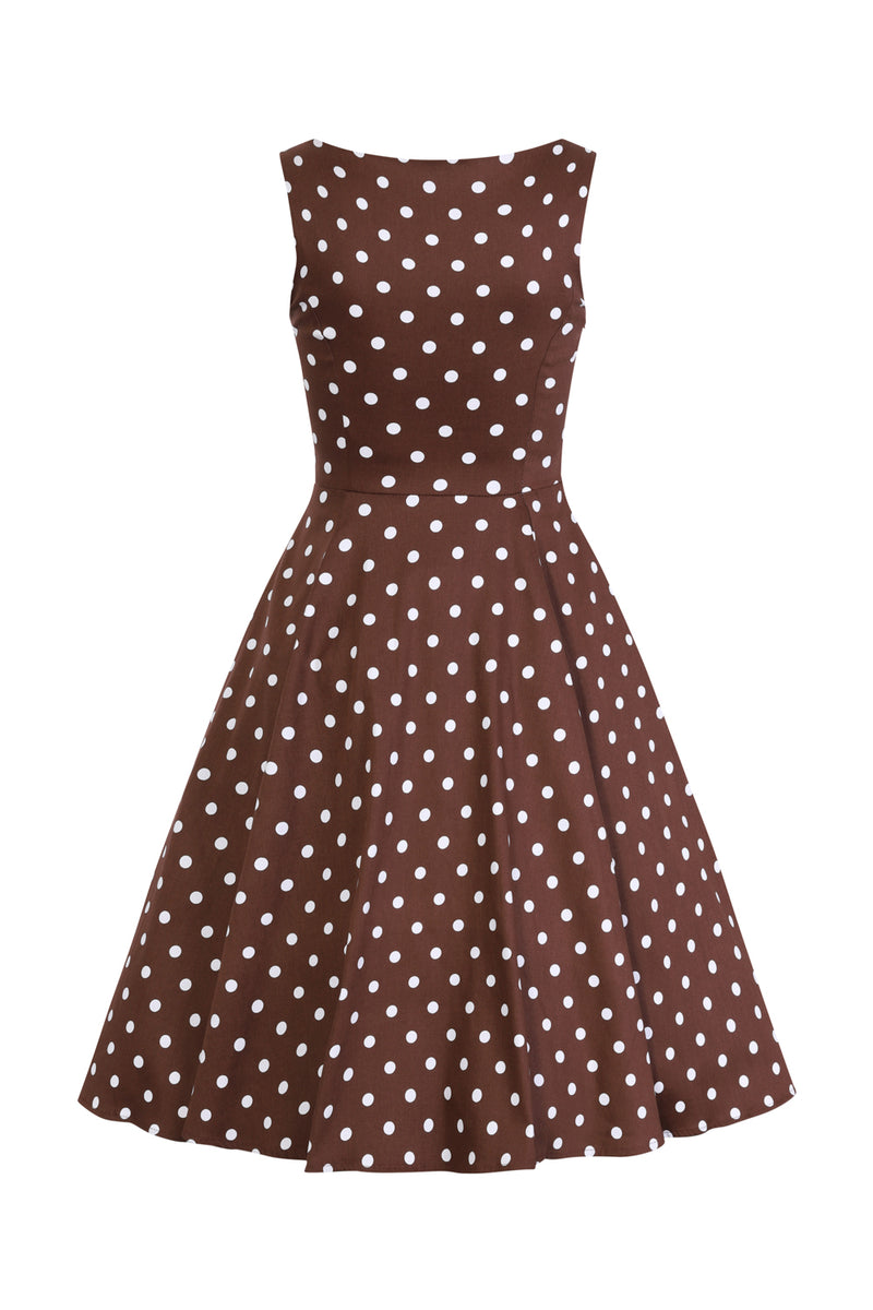 Audrey Chocolate Polka Dot 1950s Dress