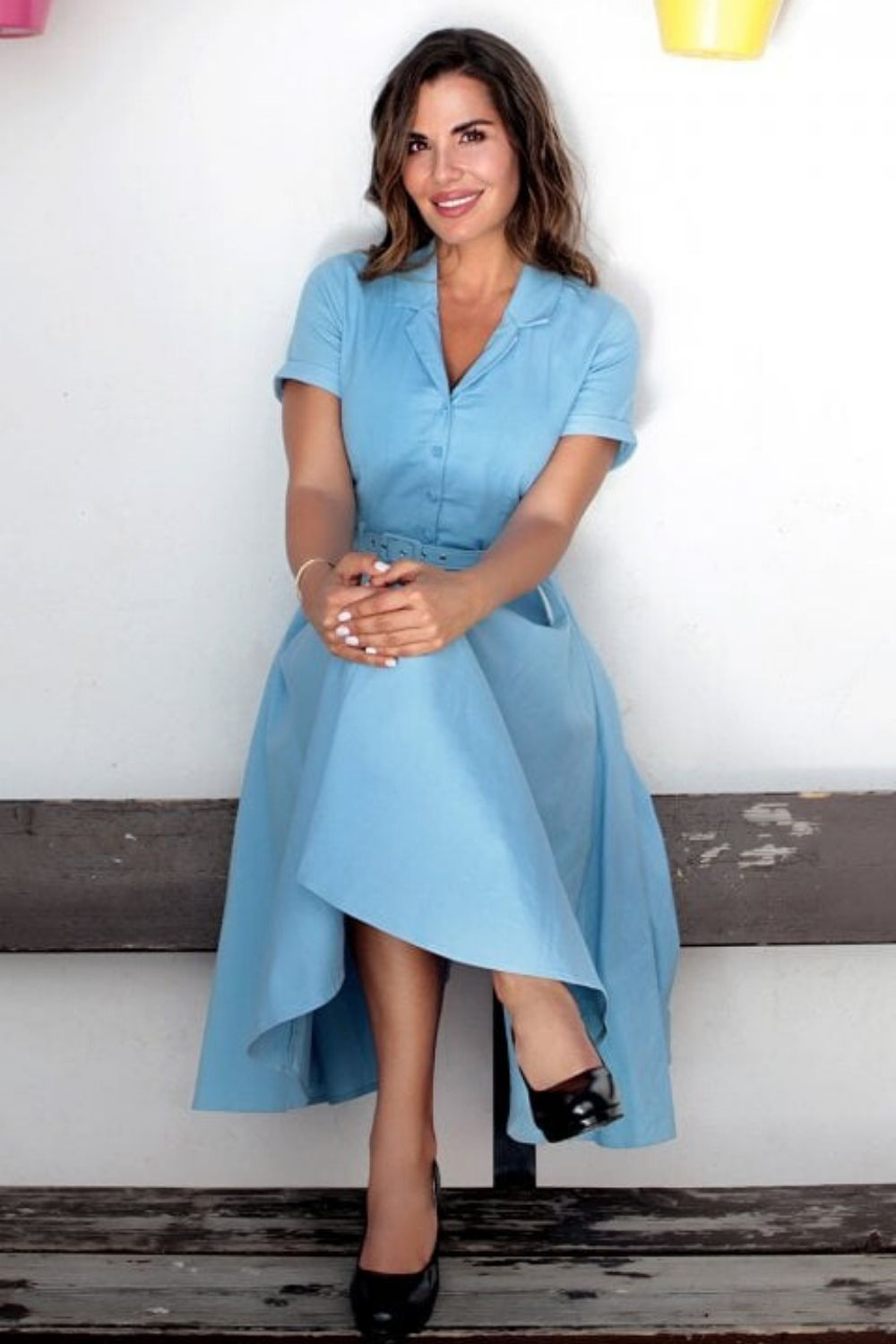 Classic 1950s Shirt Dress in Baby Blue