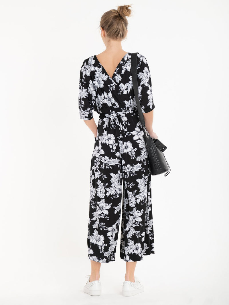 Cleo Jumpsuit in Monochrome Floral