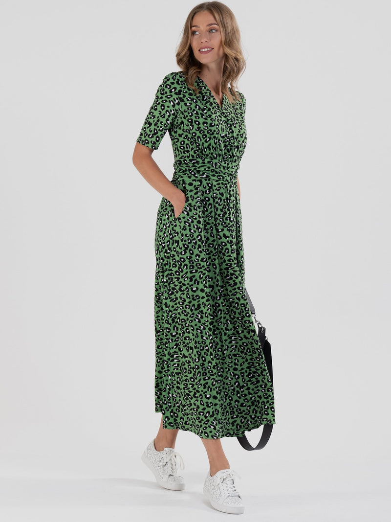 Denise Green Leopard Wrap Midi Dress