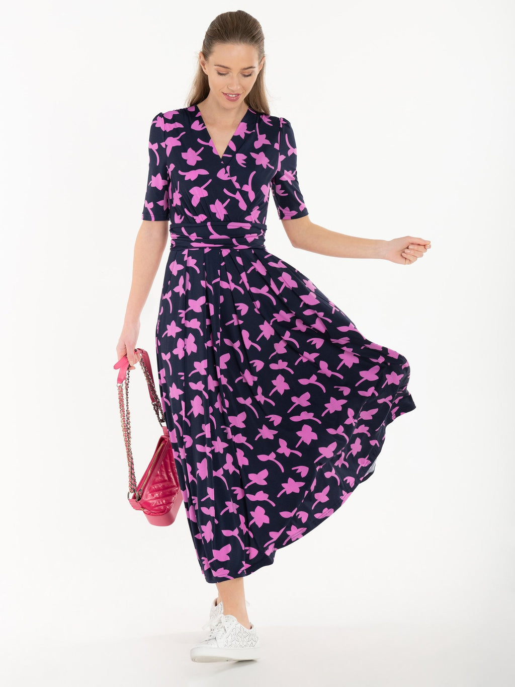 Denise Pink Flower Navy Wrap Midi Dress - PRE-ORDER