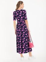 Denise Pink Flower Navy Wrap Midi Dress