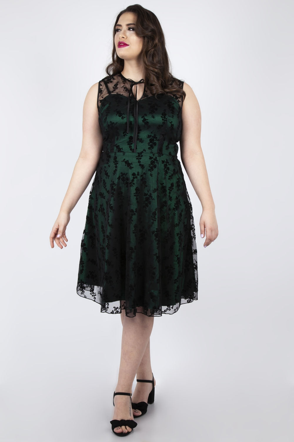 Esme 1950s Sweetheart Dress in Emerald