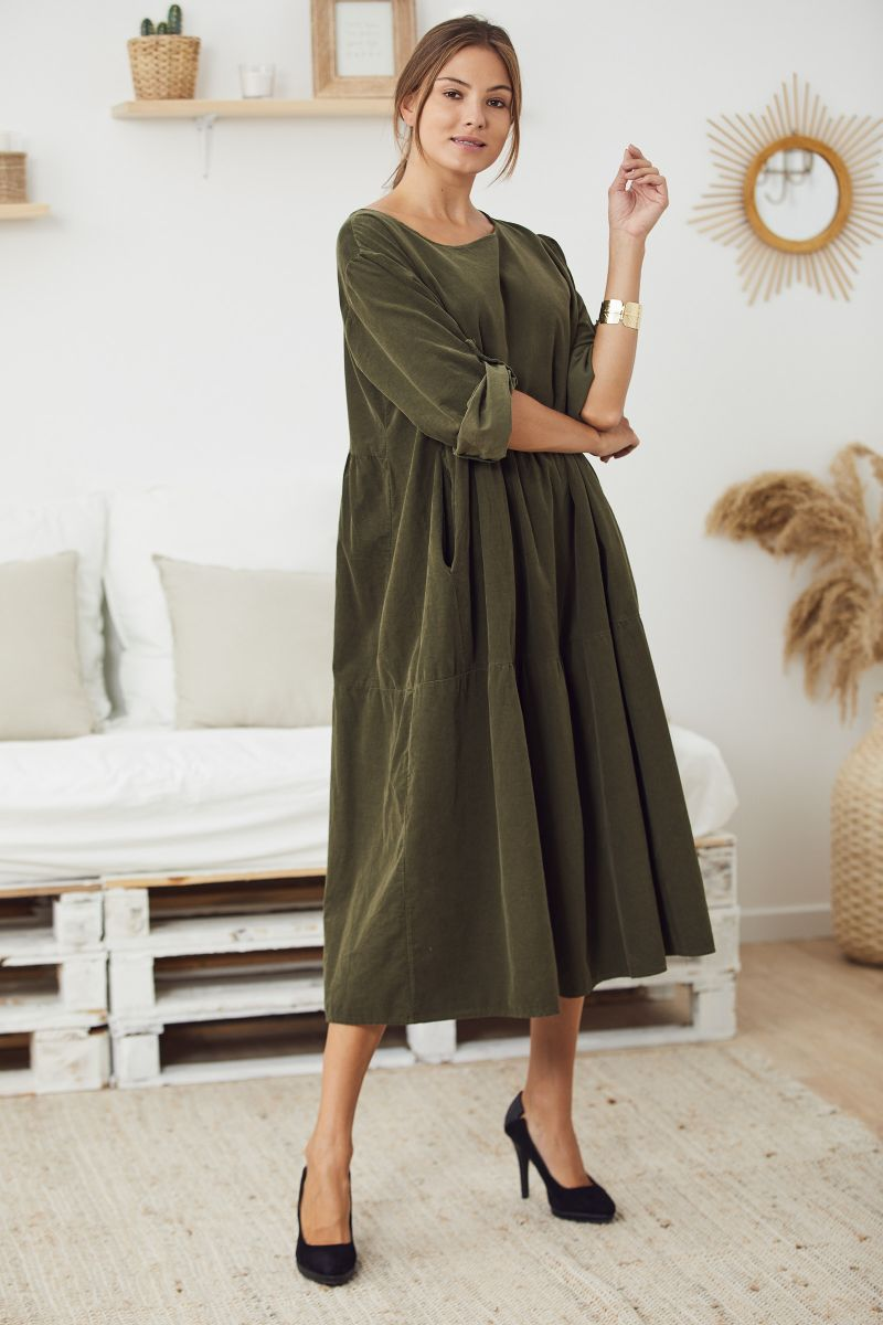 Fine Cord Midi Smock Dress in Khaki
