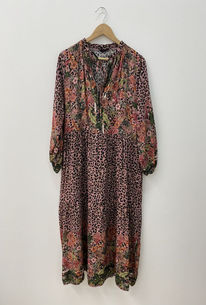Floaty Smock Dress in Floral Pink Leopard