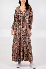 Batwing Leopard Print Maxi Dress - Blush