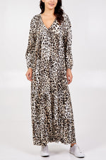 Batwing Leopard Print Maxi Dress - Cream