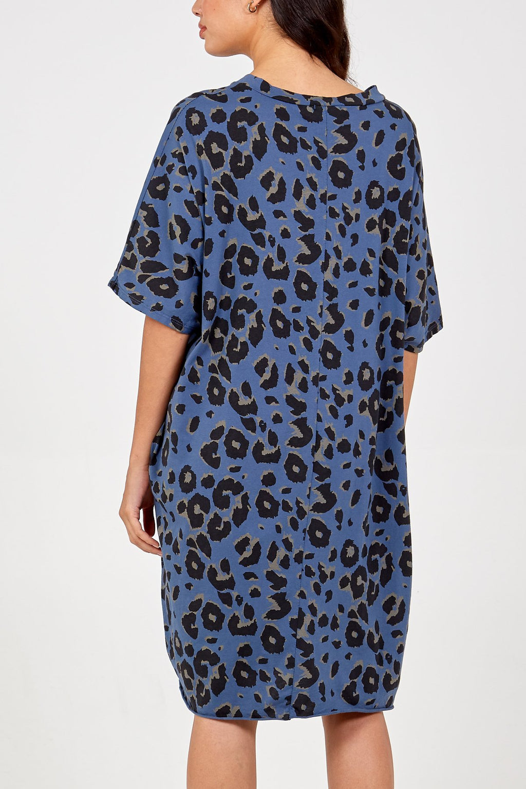 Leopard T-Shirt Dress with Pockets - Blue