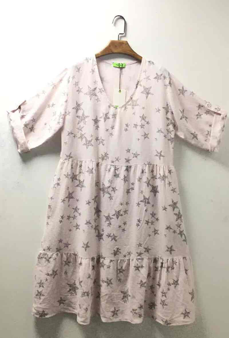 Linen Mix Star Print Dress - Pink