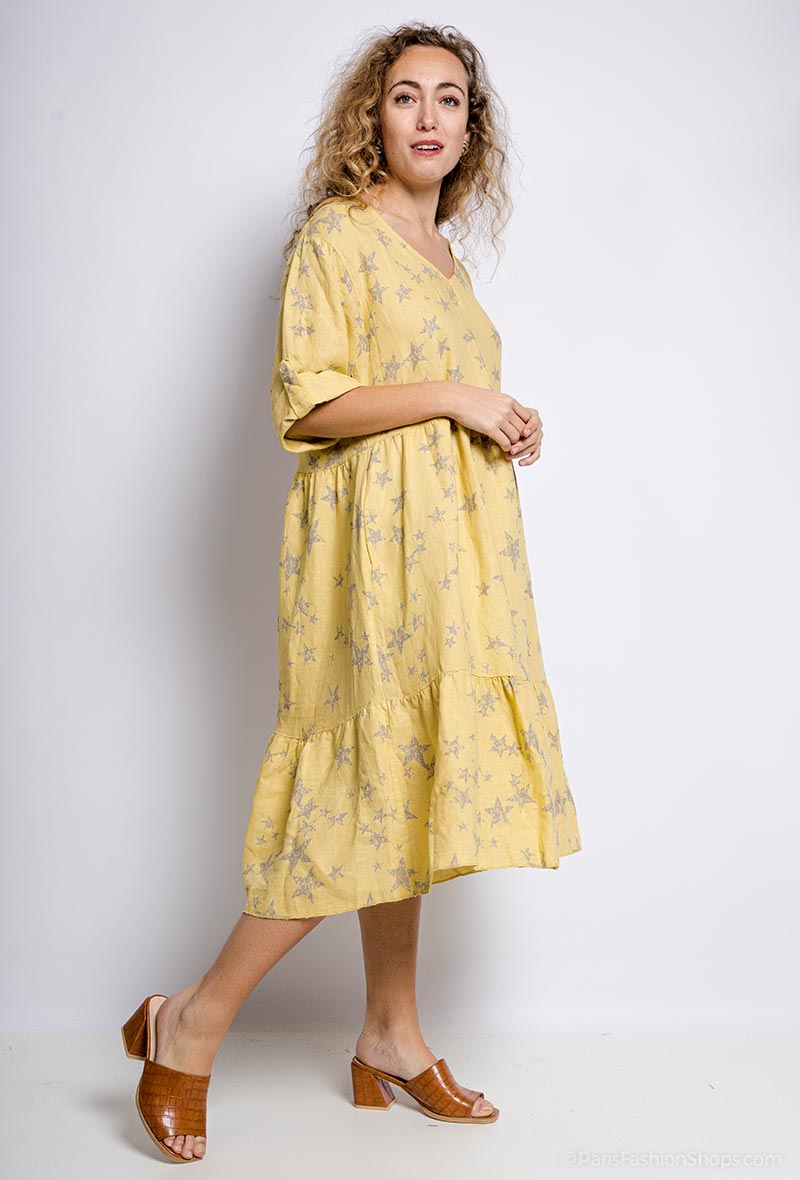 Linen Mix Star Print Dress - Yellow