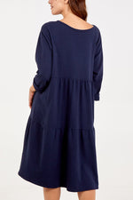 Tiered Smock Dress with Pockets
